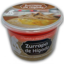 tarrina de zurrapa de higado de cerdo ibérico en manteca colorada de icarben, productos artesanos de la serrania de ronda